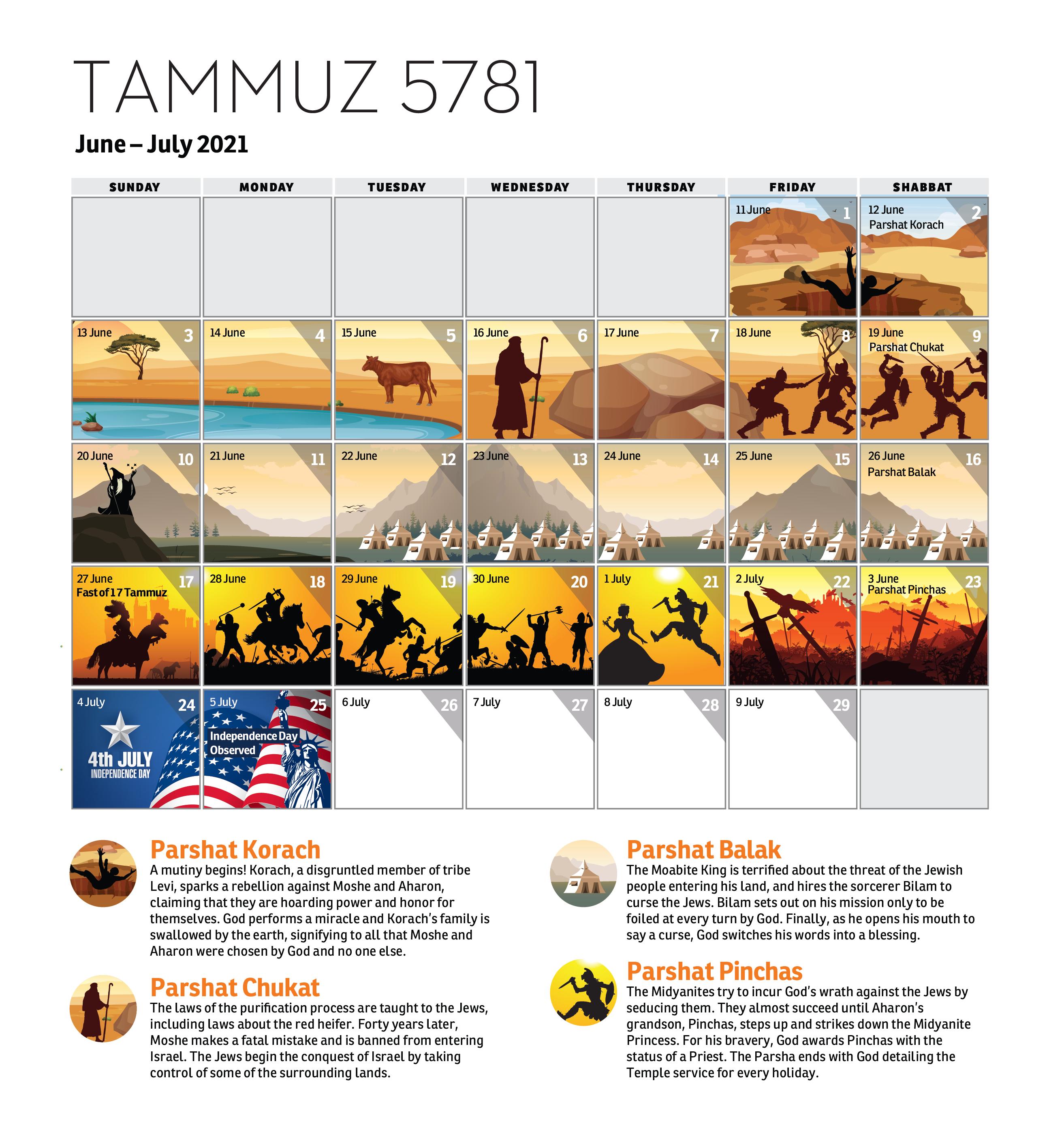 Parsha Calendar - Tammuz