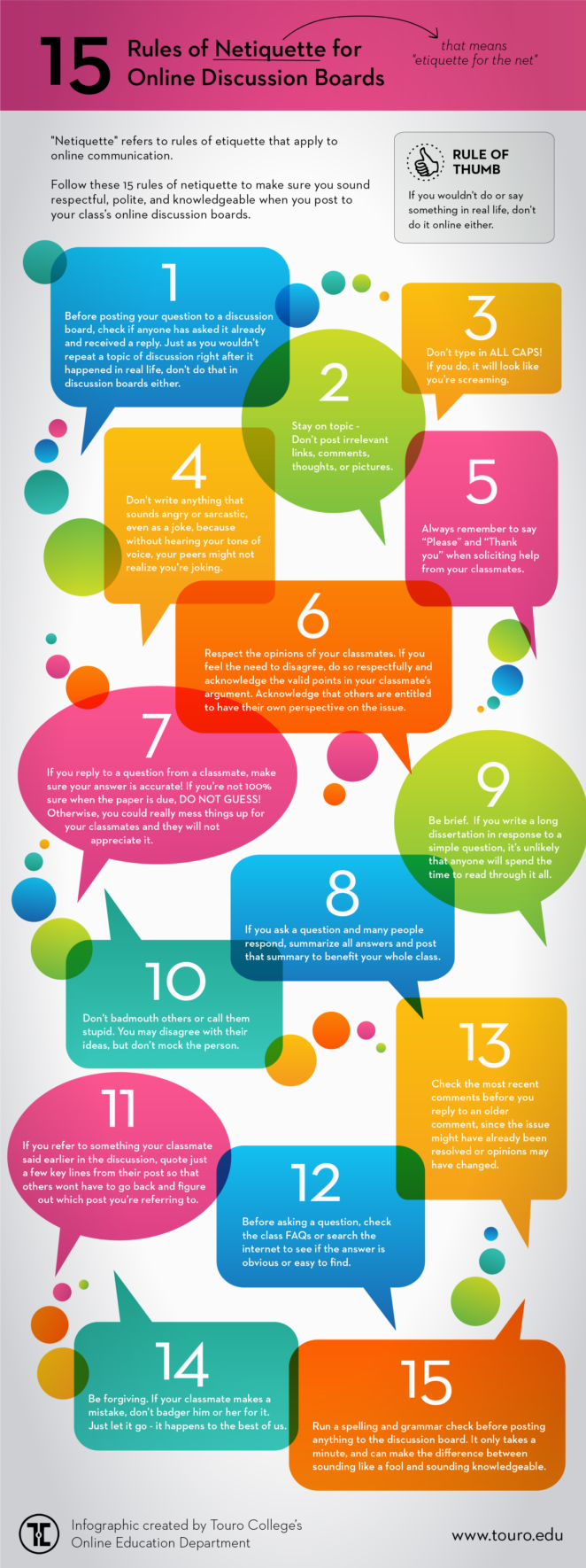 15 Rules of Online Netiquette Infographic
